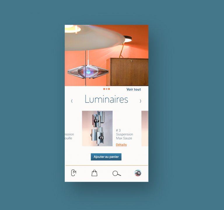 Interface de site marchand , version smartphone