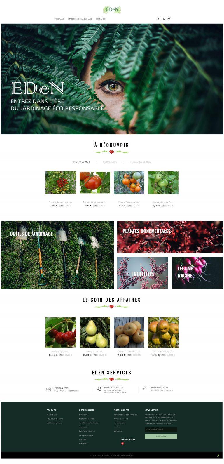 Maquette de la page d'accueil de la Jardinerie EdEN