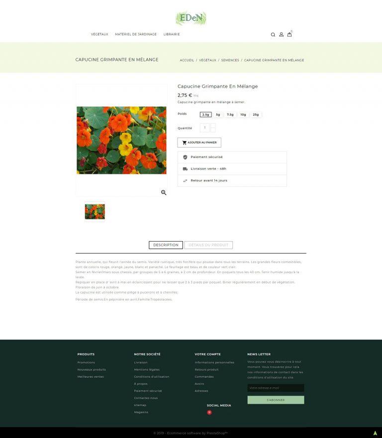Exemple de page produit d'un site marchand