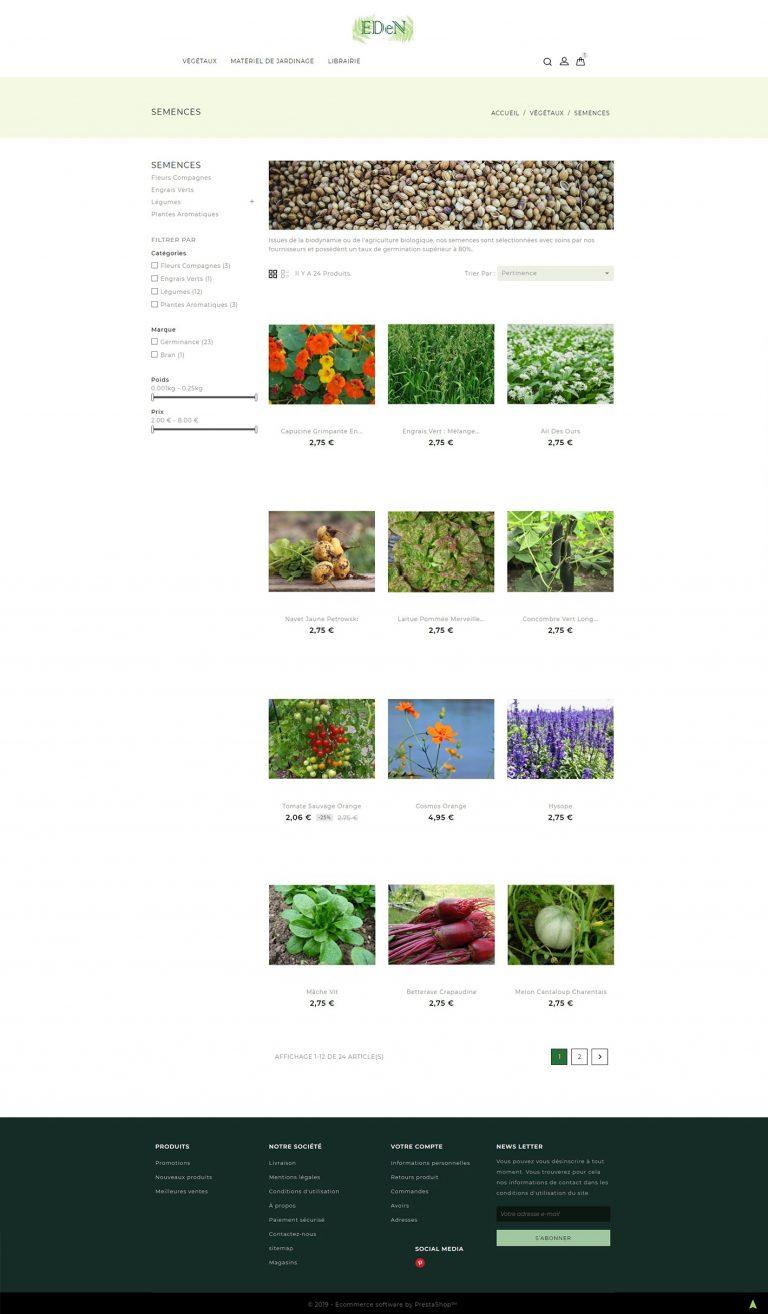 Exemple d'une page de catégorie de site marchand