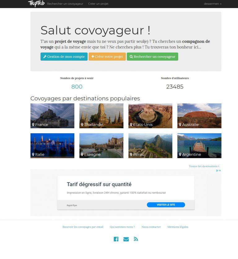 page d'accueil avant changement