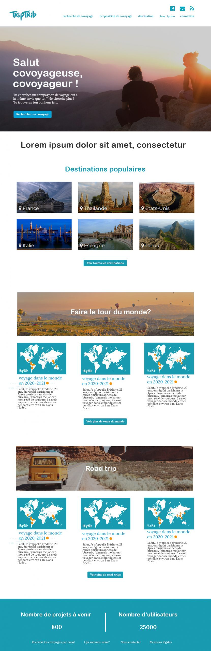 Proposition de maquette graphique pour la page d'accueil