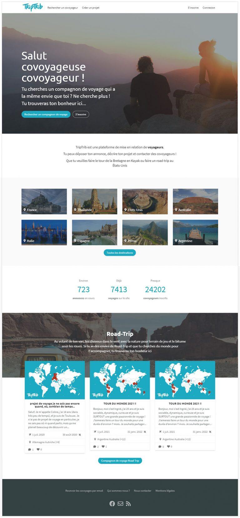 Page d'accueil du site après transformation