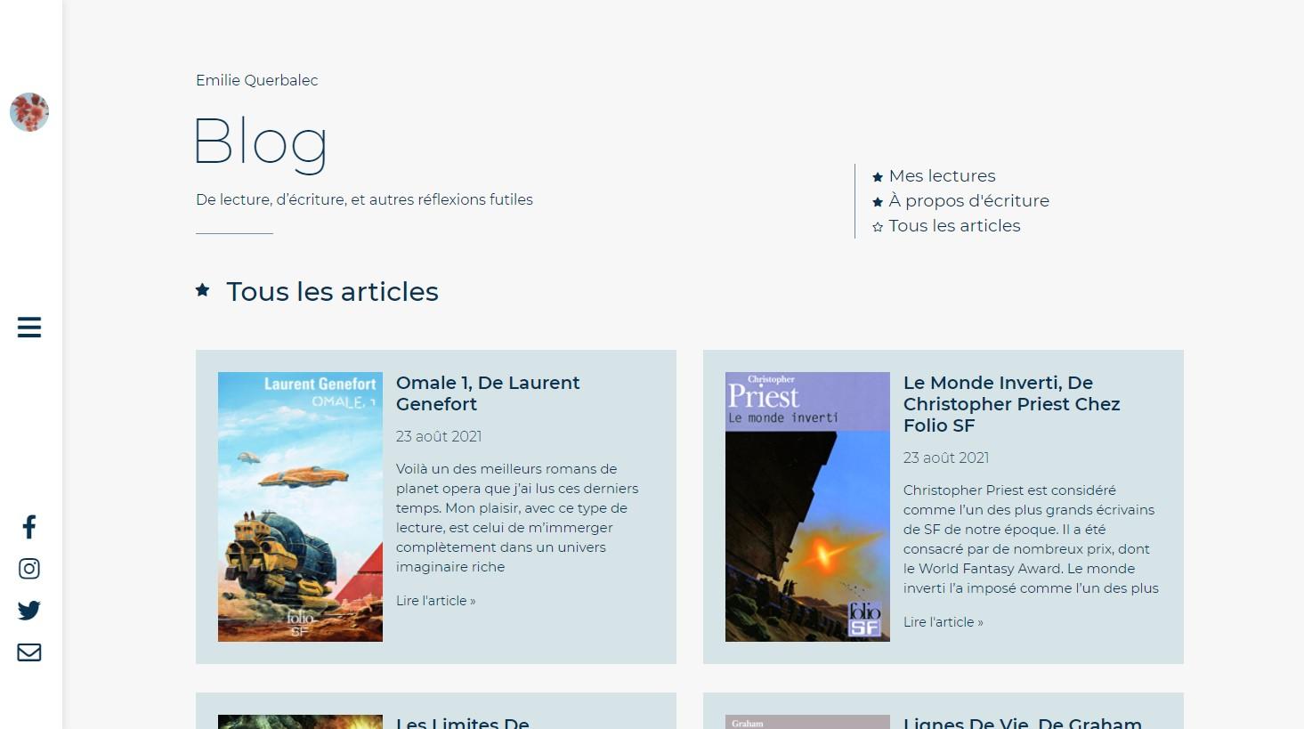 Capture d'écran page blog du site de Querbalec